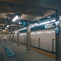 The station platform, circa 1980, featuring the JFK express trains.