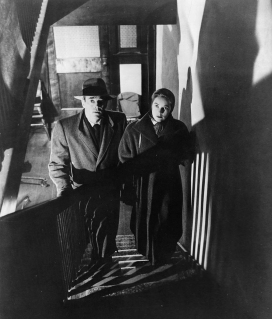 Promotional photo of Fonda and Miles in an apartment building near the George Washington Bridge.