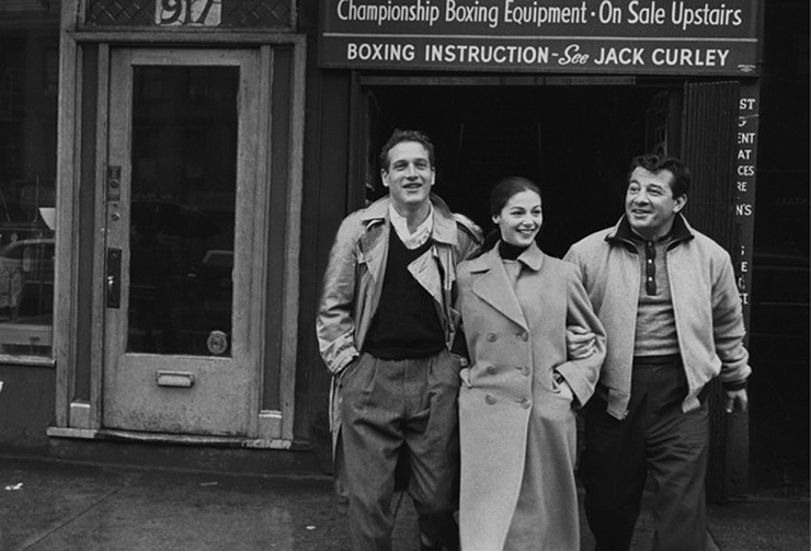 somebody bts boxing gym exterior Paul Newman, Pier Angeli, Rocky Graziano © 1978 Sanford Roth : A.M.P.A.S.