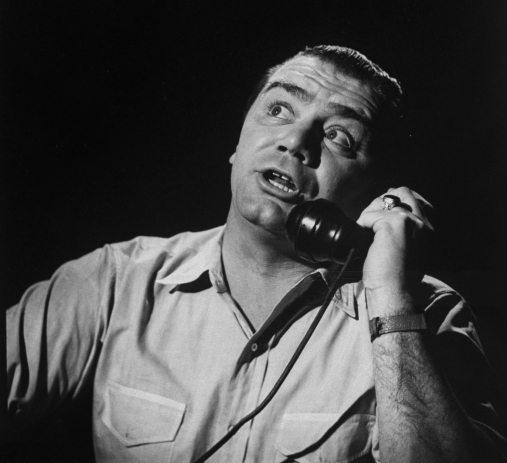 Ernest Borgnine, trying to make a date on phone. (Photo by Allan Grant/The LIFE Picture Collection via Getty Images)
